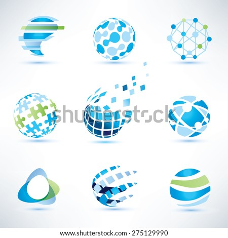 abstract globe symbol set,communication and technology icons, internet and social network concept - stock vector