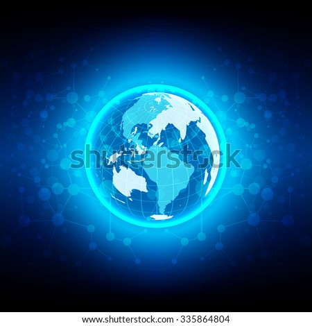 abstract  globe technology network connections  design, vector illustration
