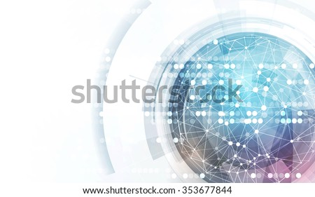 Abstract globe with low poly connected dot and lines background - stock vector