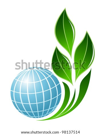 Abstract globe with plant symbol - stock vector