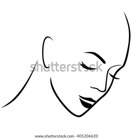 Abstract gloomy female hairless head with closed eyes, hand drawing vector outline