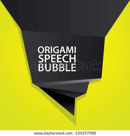 Abstract glossy black and green origami speech bubble. Vector abstract background. Green brochure. - stock vector