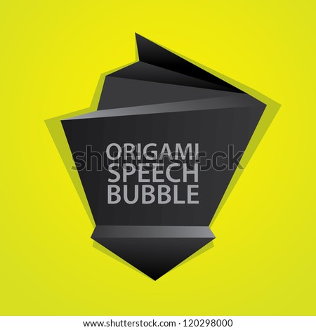 Abstract glossy black and green origami speech bubble. Vector abstract background. Green brochure.