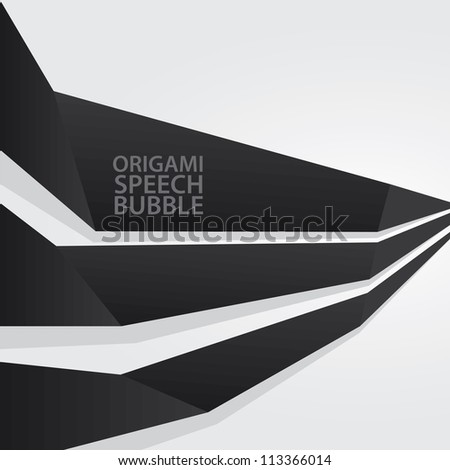 Abstract glossy black origami speech bubble. Vector dark abstract background.