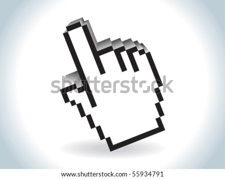 abstract glossy 3d hand cursor icon