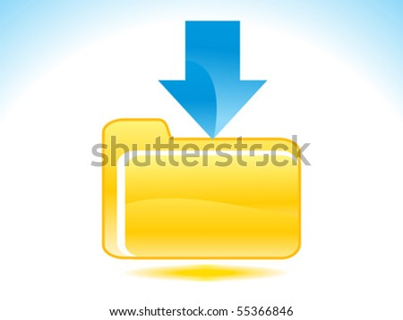 abstract glossy download icon with blue & yellow concept vector illustration - stock vector