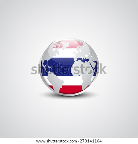 Abstract glossy globe in background Thailand flag | Vector flag button - stock vector
