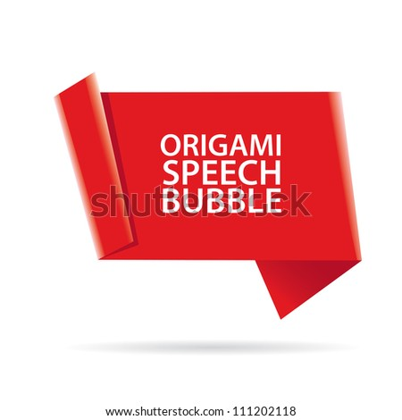 Abstract glossy red origami speech bubble. Vector red abstract background. - stock vector
