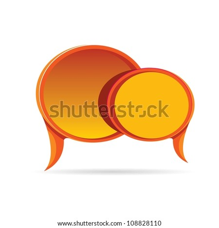 Abstract glossy red speech bubble set. Vector illustration.
