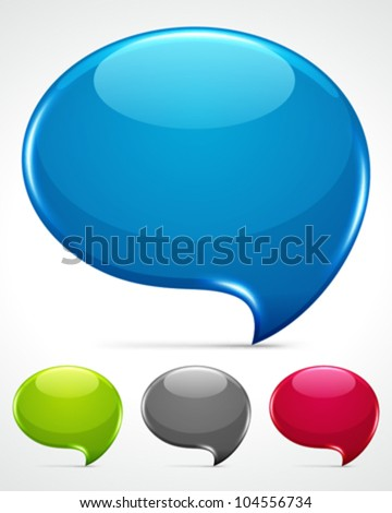 Abstract glossy speech bubbles vector backgrounds set eps 10. - stock vector