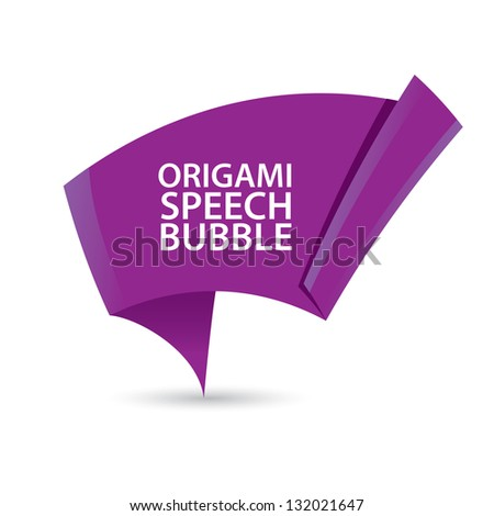 Abstract glossy violet origami speech bubble. Vector violet abstract background.