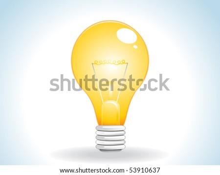 abstract glossy web yellow bulb icon vector illustration - stock vector
