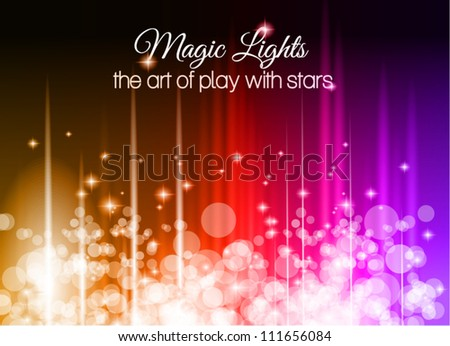 Abstract Glow of Lights background with rainbow colors and starlights. Ideal for business background, high tech covers of abstract advertising posters. - stock vector