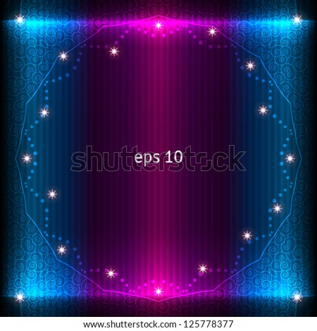 Abstract glowing background. Vector frame decorated with stars.