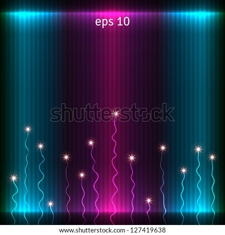 Abstract glowing background. Vector pattern decorated with stars. - stock vector