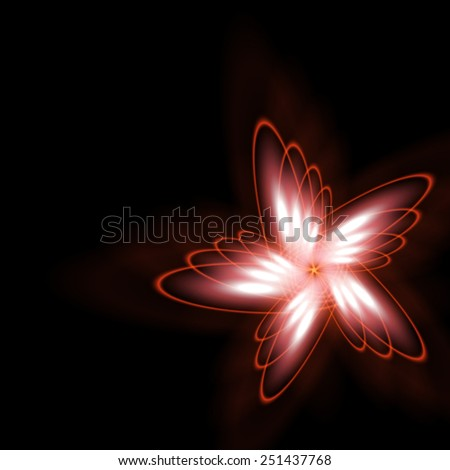Abstract glowing cosmic star-flower on a black background. - stock vector