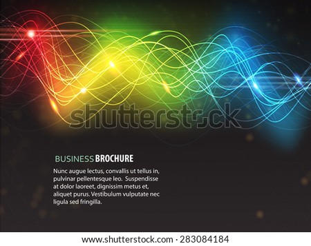 Abstract glowing digital background with sparkling spectral waves - stock vector
