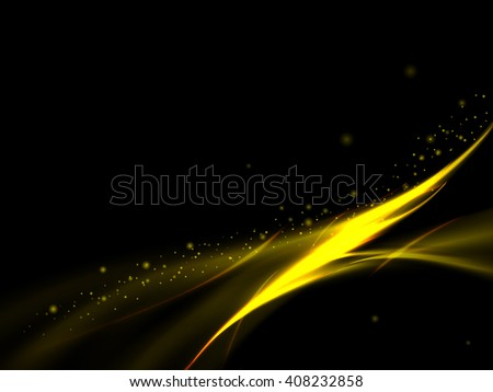 Abstract glowing golden lines with stars on a black background, vector illustration