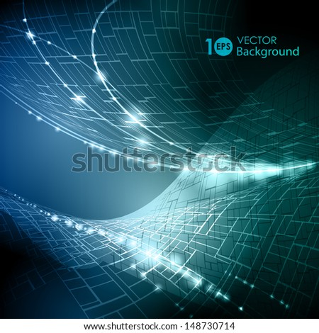 Abstract glowing wavy background. Vector eps 10. - stock vector