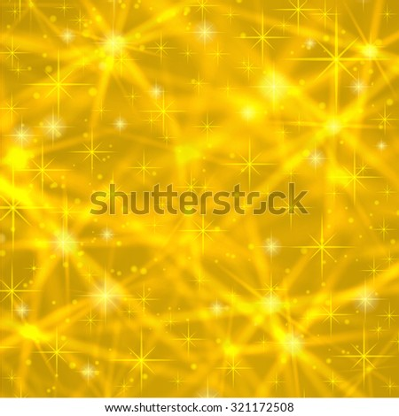 Abstract gold background with sparkling twinkling stars. Cosmic shiny galaxy (atmosphere). Holiday blank backdrop texture for Christmas (Xmas), Happy New Year with glow milky way element (fantasy sky) - stock vector