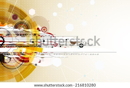 abstract gold gear vector new technology background communication and information business industry - stock vector