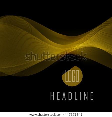 abstract gold waves on black background transparent waved lines for brochure website flyer