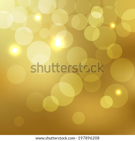 Abstract Golden Background bokeh effect with defocused lights.. Vector illustration EPS10 - stock vector