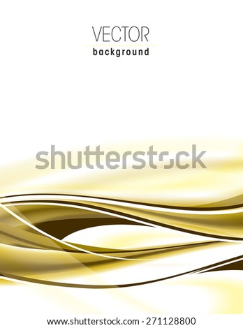 Abstract golden background with wavy lines. - stock vector