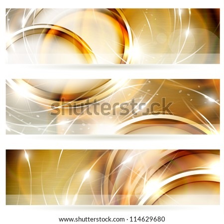 Abstract golden banners set - stock vector