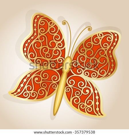 Abstract golden butterfly with ornamental wings. - stock vector