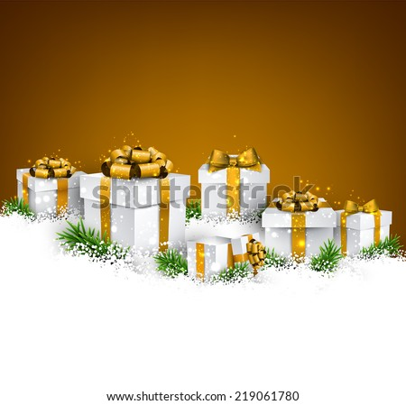 Abstract golden christmas background with fir branches and realistic gift boxes. Vector illustration.  - stock vector