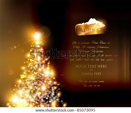 Abstract golden christmas tree - stock vector