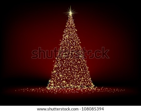 Abstract golden christmas tree on red background. EPS 8 vector file included - stock vector
