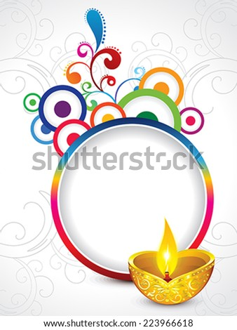 abstract golden diwali on artistic floral vector illustration - stock vector