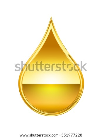 abstract golden drop isolate on white background - stock vector