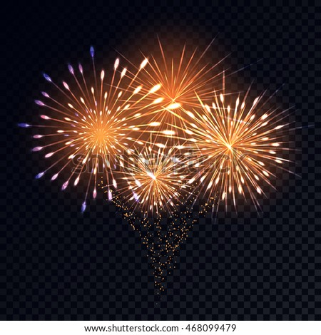 Abstract golden fireworks explosion on transparent stock vector hd abstract golden fireworks explosion on transparent background realistic colorful anniversary fireworks for your design voltagebd Image collections