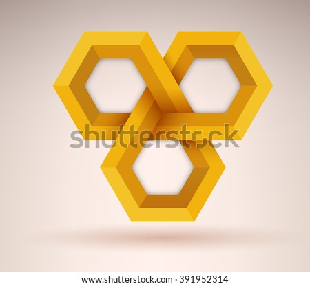 Abstract golden geometrical cubic shape with three options - stock vector