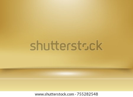 Abstract golden gold studio background with lighting on stage. Vector illustration
