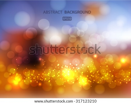 Abstract Golden Holiday Background bokeh effect.. Vector EPS 10 illustration. - stock vector