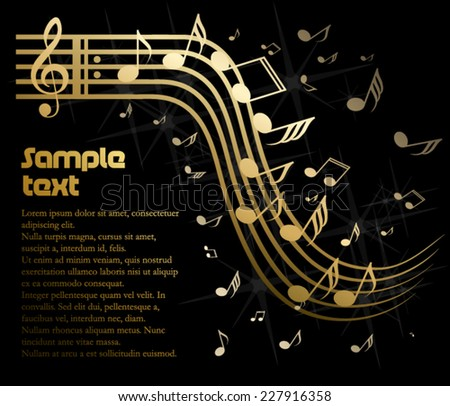Abstract golden music template - stock vector