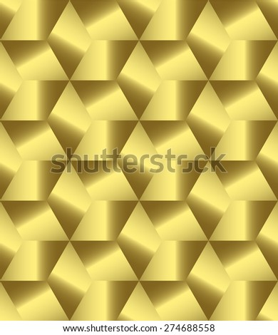 Abstract golden polygonal decorative endless pattern design vector - stock vector