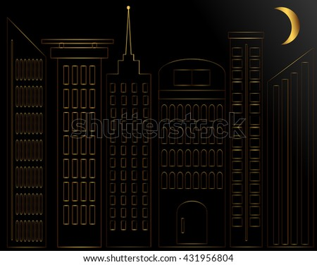 Abstract Golden silhouette of the city illuminated by month on a black background.