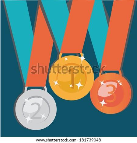 Abstract Golden, Silver, Bronze Medals. Vector Set - stock vector