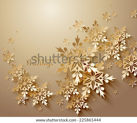 Abstract  Golden Snowflakes - stock vector