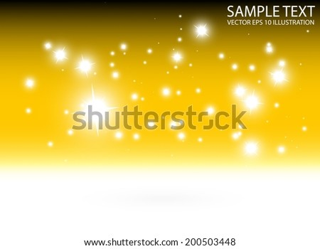Abstract golden vector shiny background template - Vector sparkling gold dawn background illustration - stock vector