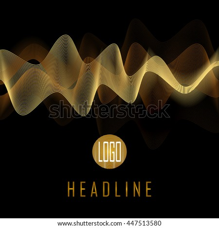 Abstract golden waves on black background. Transparent waved lines for brochure, website, flyer, card, template design  - Vector illustration EPS10 - stock vector