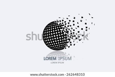 Abstract golf ball logo. Vector logotype design. - stock vector