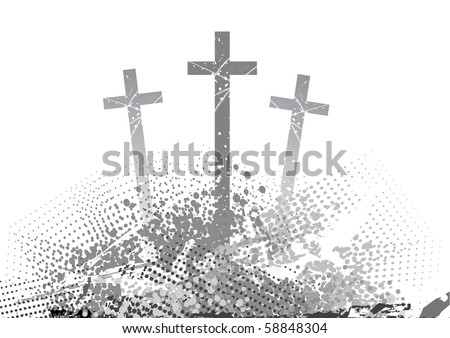 abstract golgotha with three cross - stock vector