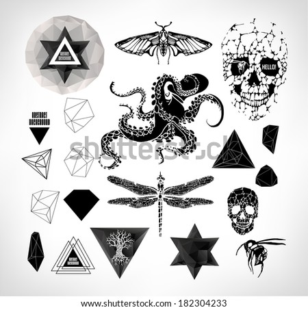 Rock tattoo stock images royalty free images vectors for Gothic design elements