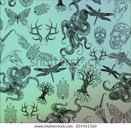 Abstract  gothic thin line design elements, octopus, the crystal skull, dragonfly, antlers, beetle, tree, symbol, sign for tattoo